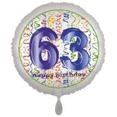 Luftballon aus Folie, Satin Luxe zum 63. Geburtstag, Rundballon weiß, 45 cm