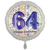 Luftballon aus Folie, Satin Luxe zum 64. Geburtstag, Rundballon weiß, 45 cm