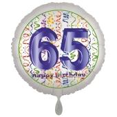 Luftballon aus Folie, Satin Luxe zum 65. Geburtstag, Rundballon weiß, 45 cm