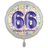 Luftballon aus Folie, Satin Luxe zum 66. Geburtstag, Rundballon weiß, 45 cm