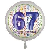 Luftballon aus Folie, Satin Luxe zum 67. Geburtstag, Rundballon weiß, 45 cm