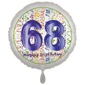 Luftballon aus Folie, Satin Luxe zum 68. Geburtstag, Rundballon weiß, 45 cm