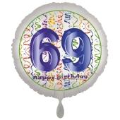 Luftballon aus Folie, Satin Luxe zum 69. Geburtstag, Rundballon weiß, 45 cm