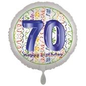 Luftballon aus Folie, Satin Luxe zum 70. Geburtstag, Rundballon weiß, 45 cm