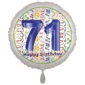 Luftballon aus Folie, Satin Luxe zum 71. Geburtstag, Rundballon weiß, 45 cm