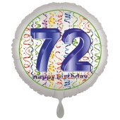 Luftballon aus Folie, Satin Luxe zum 72. Geburtstag, Rundballon weiß, 45 cm