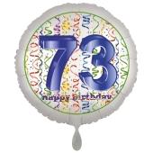 Luftballon aus Folie, Satin Luxe zum 73. Geburtstag, Rundballon weiß, 45 cm