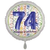 Luftballon aus Folie, Satin Luxe zum 74. Geburtstag, Rundballon weiß, 45 cm