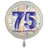 Luftballon aus Folie, Satin Luxe zum 75. Geburtstag, Rundballon weiß, 45 cm