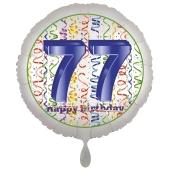 Luftballon aus Folie, Satin Luxe zum 77. Geburtstag, Rundballon weiß, 45 cm