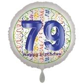 Luftballon aus Folie, Satin Luxe zum 79. Geburtstag, Rundballon weiß, 45 cm