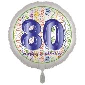 Luftballon aus Folie, Satin Luxe zum 80. Geburtstag, Rundballon weiß, 45 cm