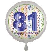Luftballon aus Folie, Satin Luxe zum 81. Geburtstag, Rundballon weiß, 45 cm