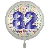 Luftballon aus Folie, Satin Luxe zum 82. Geburtstag, Rundballon weiß, 45 cm