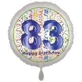 Luftballon aus Folie, Satin Luxe zum 83. Geburtstag, Rundballon weiß, 45 cm