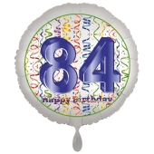 Luftballon aus Folie, Satin Luxe zum 84. Geburtstag, Rundballon weiß, 45 cm
