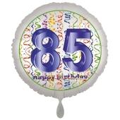 Luftballon aus Folie, Satin Luxe zum 85. Geburtstag, Rundballon weiß, 45 cm
