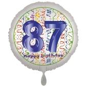 Luftballon aus Folie, Satin Luxe zum 87. Geburtstag, Rundballon weiß, 45 cm