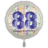 Luftballon aus Folie, Satin Luxe zum 88. Geburtstag, Rundballon weiß, 45 cm
