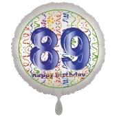 Luftballon aus Folie, Satin Luxe zum 89. Geburtstag, Rundballon weiß, 45 cm