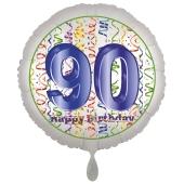 Luftballon aus Folie, Satin Luxe zum 90. Geburtstag, Rundballon weiß, 45 cm