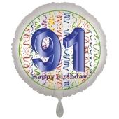 Luftballon aus Folie, Satin Luxe zum 91. Geburtstag, Rundballon weiß, 45 cm
