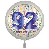 Luftballon aus Folie, Satin Luxe zum 92. Geburtstag, Rundballon weiß, 45 cm