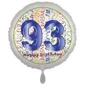 Luftballon aus Folie, Satin Luxe zum 93. Geburtstag, Rundballon weiß, 45 cm