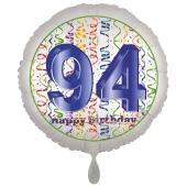 Luftballon aus Folie, Satin Luxe zum 94. Geburtstag, Rundballon weiß, 45 cm
