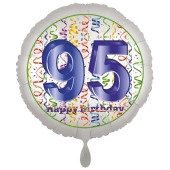 Luftballon aus Folie, Satin Luxe zum 95. Geburtstag, Rundballon weiß, 45 cm