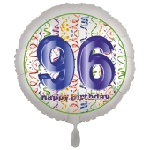 Luftballon aus Folie, Satin Luxe zum 96. Geburtstag, Rundballon weiß, 45 cm