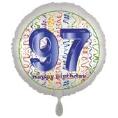 Luftballon aus Folie, Satin Luxe zum 97. Geburtstag, Rundballon weiß, 45 cm