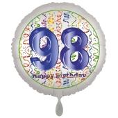 Luftballon aus Folie, Satin Luxe zum 98. Geburtstag, Rundballon weiß, 45 cm