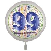 Luftballon aus Folie, Satin Luxe zum 99. Geburtstag, Rundballon weiß, 45 cm