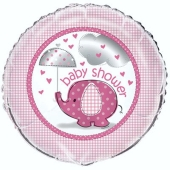 Luftballon aus Folie, Baby Shower in Pink, 45 cm Ballon inklusive Helium