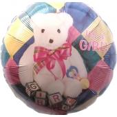 Luftballon zu Geburt und Taufe, It's a Girl, Mädchen, Folienballon 45 cm