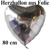Luftballon aus Folie, Herzballon 80 cm, Silber