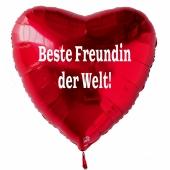 Beste Freundin der Welt! Luftballon in Herzform aus Folie ohne Helium