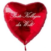 Beste Kollegin der Welt! Luftballon in Herzform aus Folie mit Helium