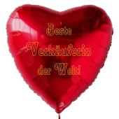 Beste Verkäuferin der Welt! Luftballon in Herzform aus Folie mit Helium