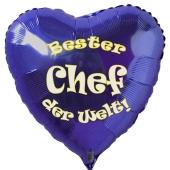 Bester Chef der Welt! Luftballon in Herzform aus Folie mit Helium