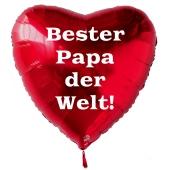 Bester Papa der Welt! Luftballon in Herzform aus Folie mit Helium