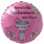 Luftballon mit Helium zur Taufe eines Mädchens: Herzliche Glückwünsche zur Taufe