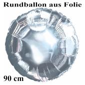 Luftballon aus Folie, Rundballon, Silber, 90 cm
