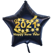 Silvester Luftballon, Sternballon aus Folie, 2021 - Happy New Year