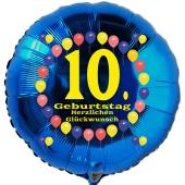 Luftballon aus Folie zum 10. Geburtstag, blauer Rundballon, Balloons, Herzlichen Glückwunsch, inklusive Ballongas