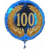 Luftballon aus Folie zum 100. Geburtstag, blauer Rundballon, Zahl 100 im Lorbeerkranz, inklusive Ballongas