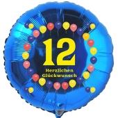 zum 12. Geburtstag, blauer Luftballon aus Folie mit der Zahl 12. Rundballon mit Helium Ballongas