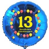 zum 13. Geburtstag, blauer Luftballon aus Folie mit der Zahl 13, Rundballon mit Helium Ballongas