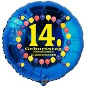 Luftballon aus Folie zum 14. Geburtstag, blauer Rundballon, Balloons, Herzlichen Glückwunsch, inklusive Ballongas